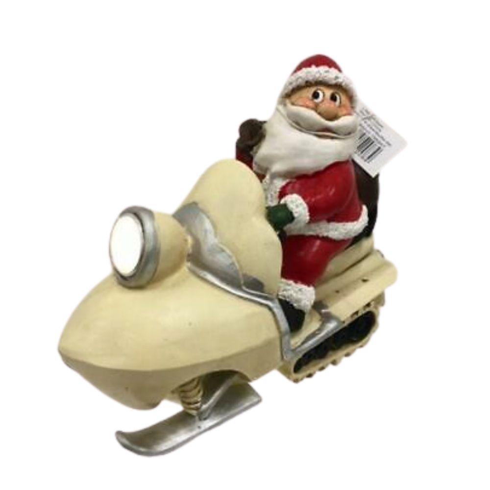 Babbo Natale su moto slitta in resina e faro luminoso