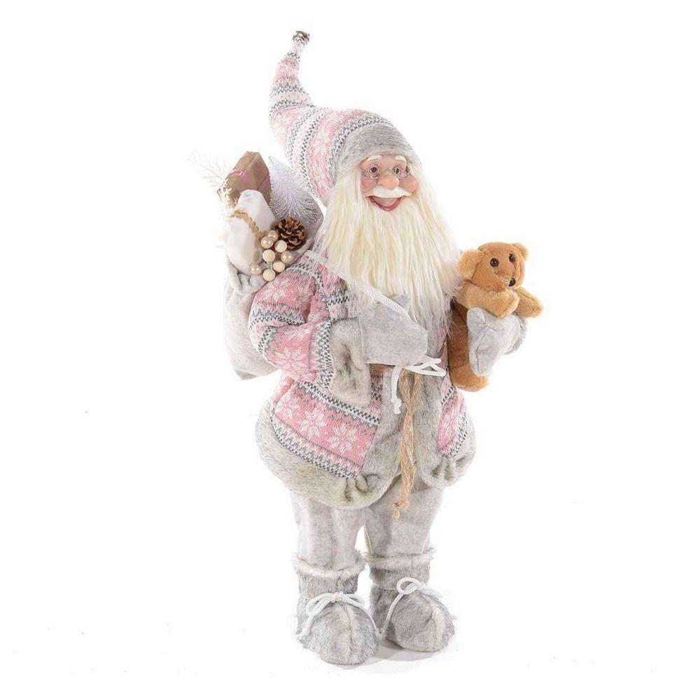 Babbo Natale alto 84 cm con cappotto in maglia e orsetto in peluche