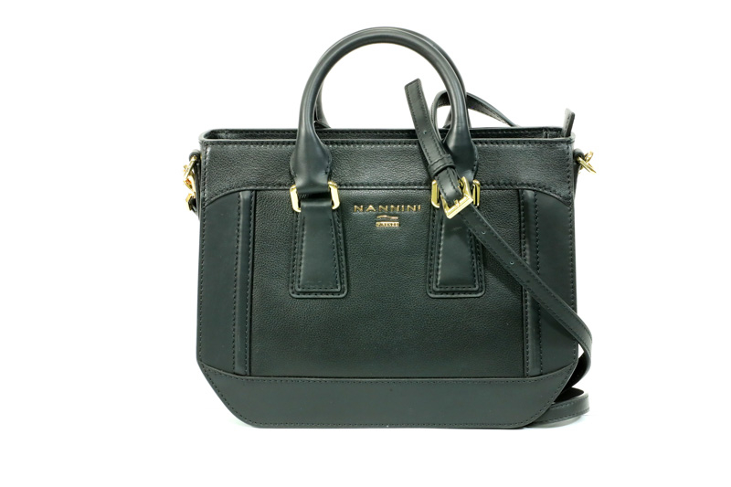 Nannini - Borsa a mano in pelle nero con accessori e borchie oro e tracolla