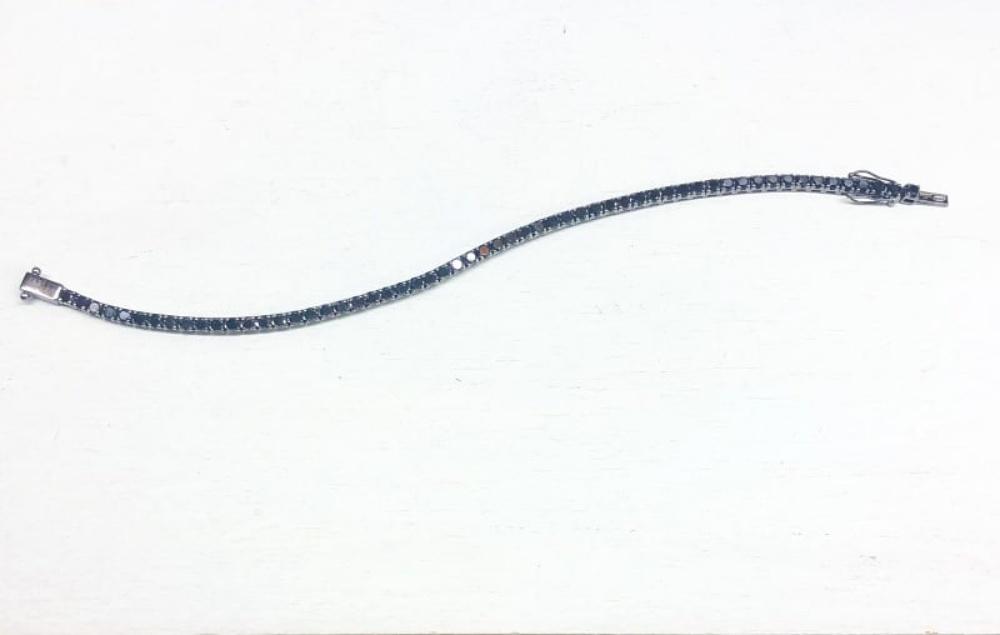 BRACCIALE TENNIS ORO BRUNITO E DIAMANTI NERI 5,80 CT