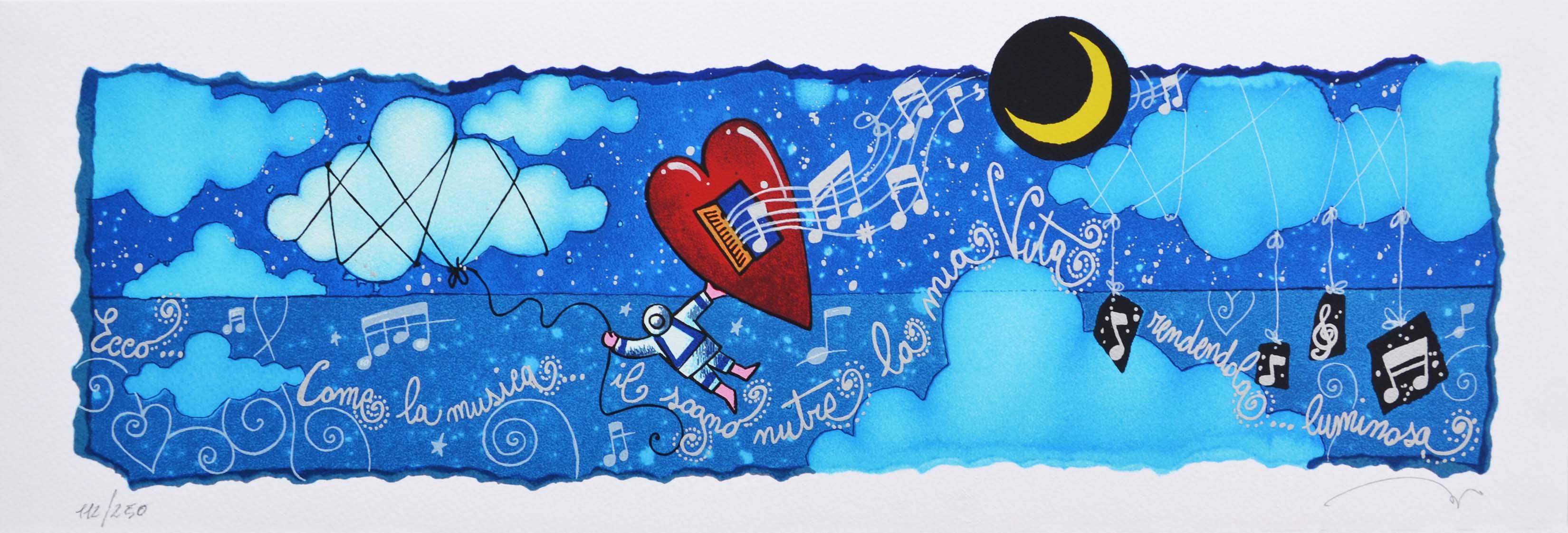 Andrea Agostini  Serigrafia Come la musica Formato cm 17.5x50