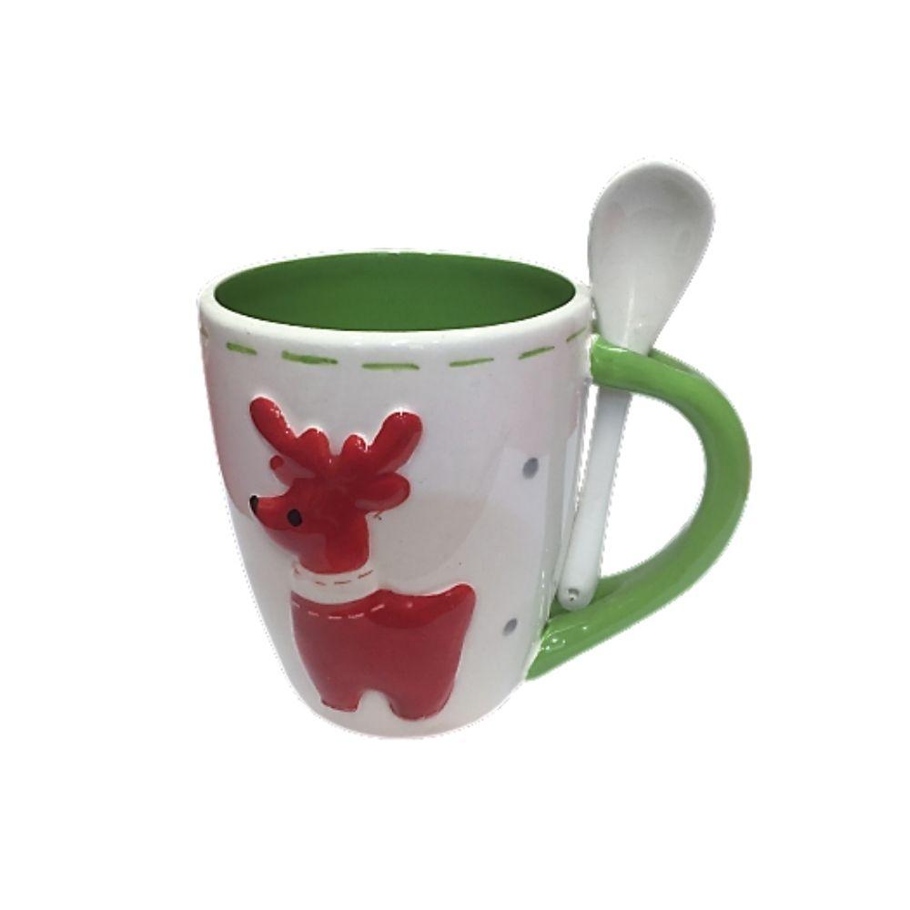 Tazza di Natale in porcellana con renna e cucchiaino