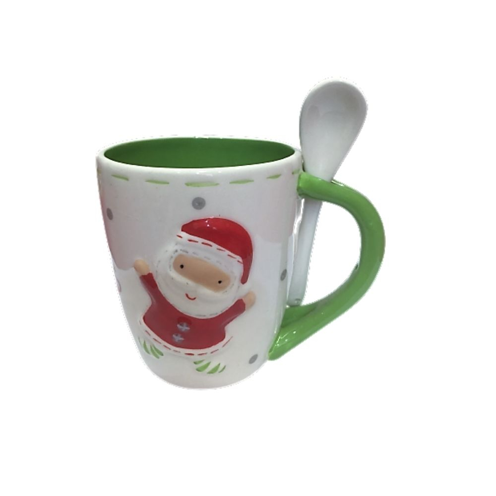 Tazza di Natale in porcellana con babbo natale e cucchiaino