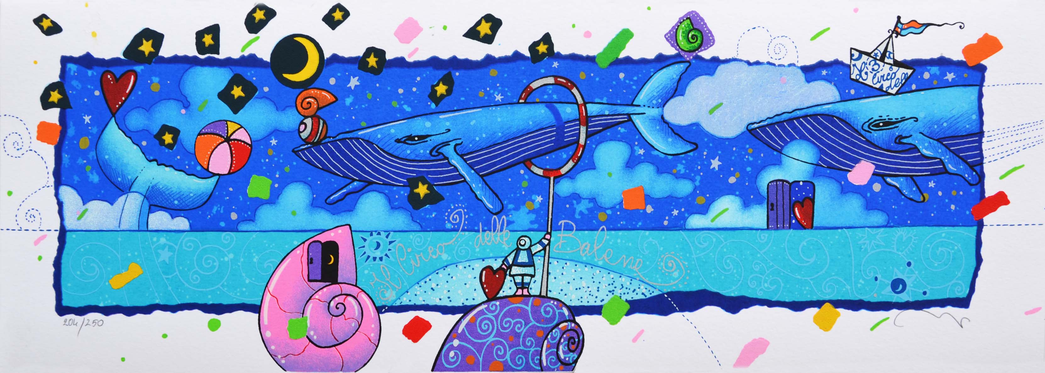 Agostini Andrea Il circo delle Balene Serigrafia formato cm 17.5x50