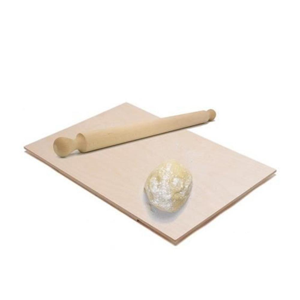 Spianatoia In Legno Chiaro con Mattarello 50x30 cm