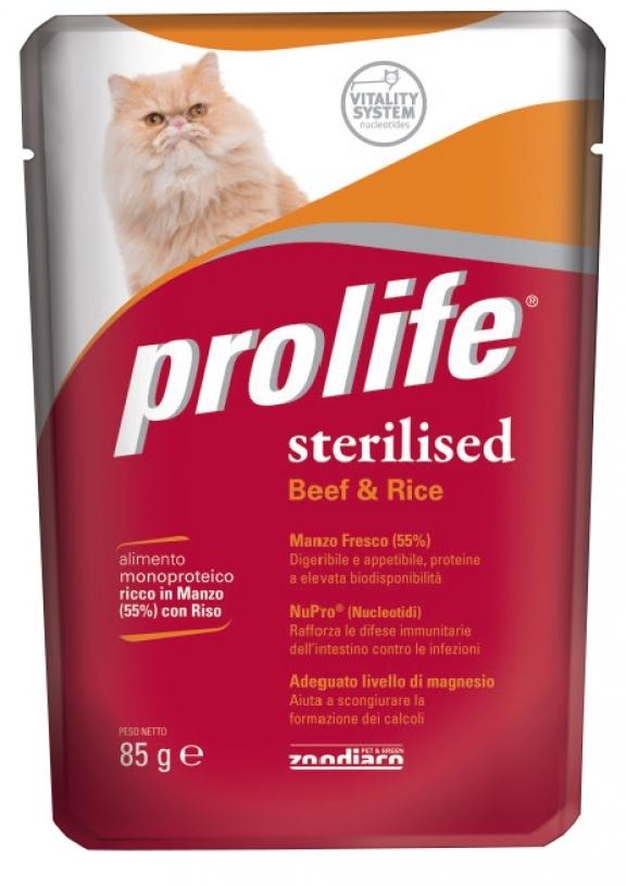 PROLIFE GATTO STERILISED BEEF RICE 85 GR.