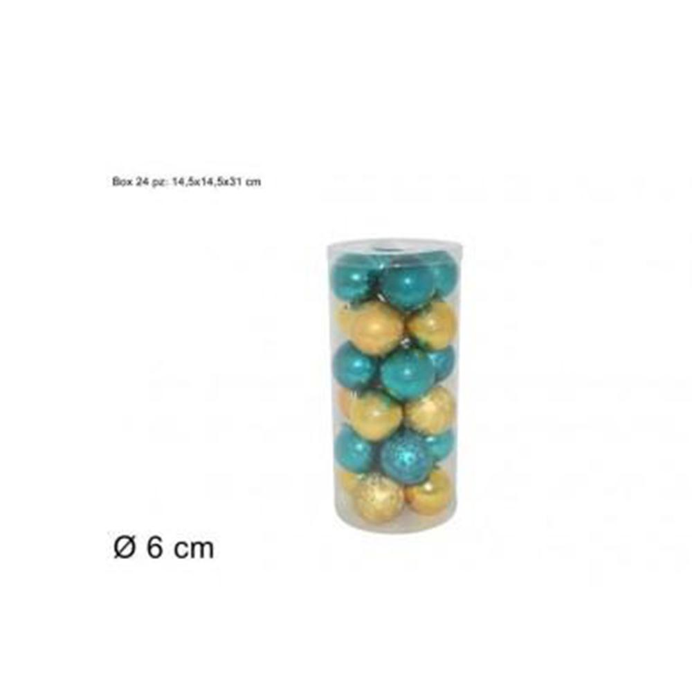Due Esse Confezione Natalizia 24 Pezzi Palline Decorative 6 cm Verde/Oro