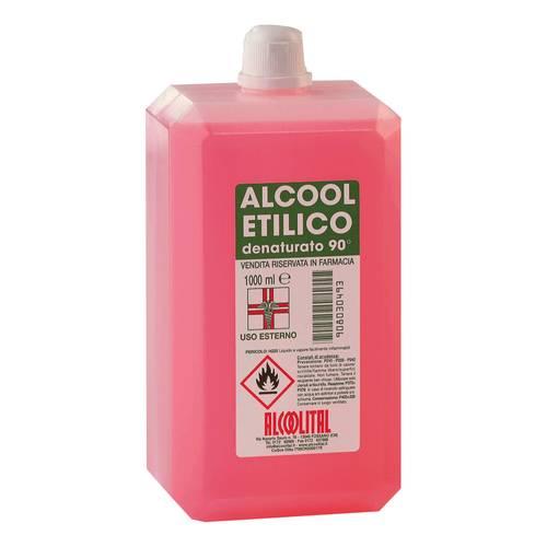 1 LITRO ALCOOL ETILICO DENATURATO 90° PER USI IGIENICI, FARMACEUTICI, OSPEDALIERI.