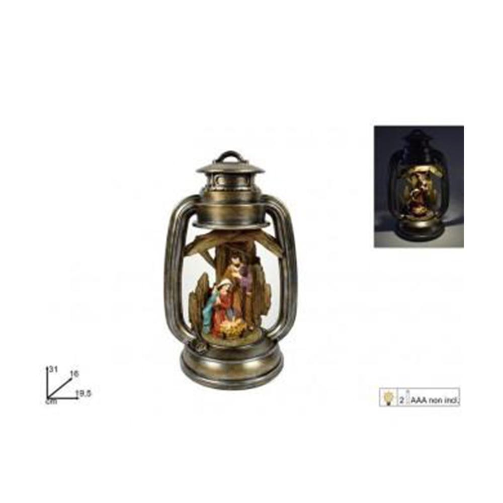 Due Esse Lanterna Decorata con Natività Natalizia Con Led 31 cm