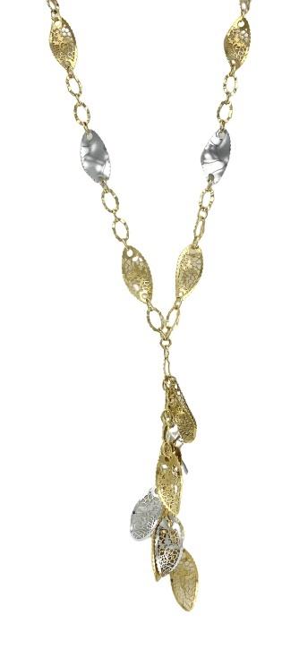 Girocollo Neonero in oro giallo e bianco 18kt con da foglie traforate