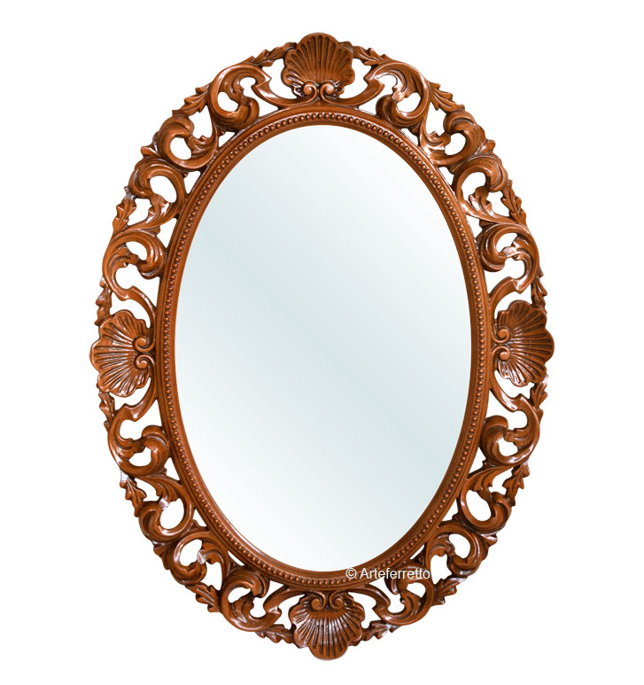 Ovaler Spiegel aus  Holz