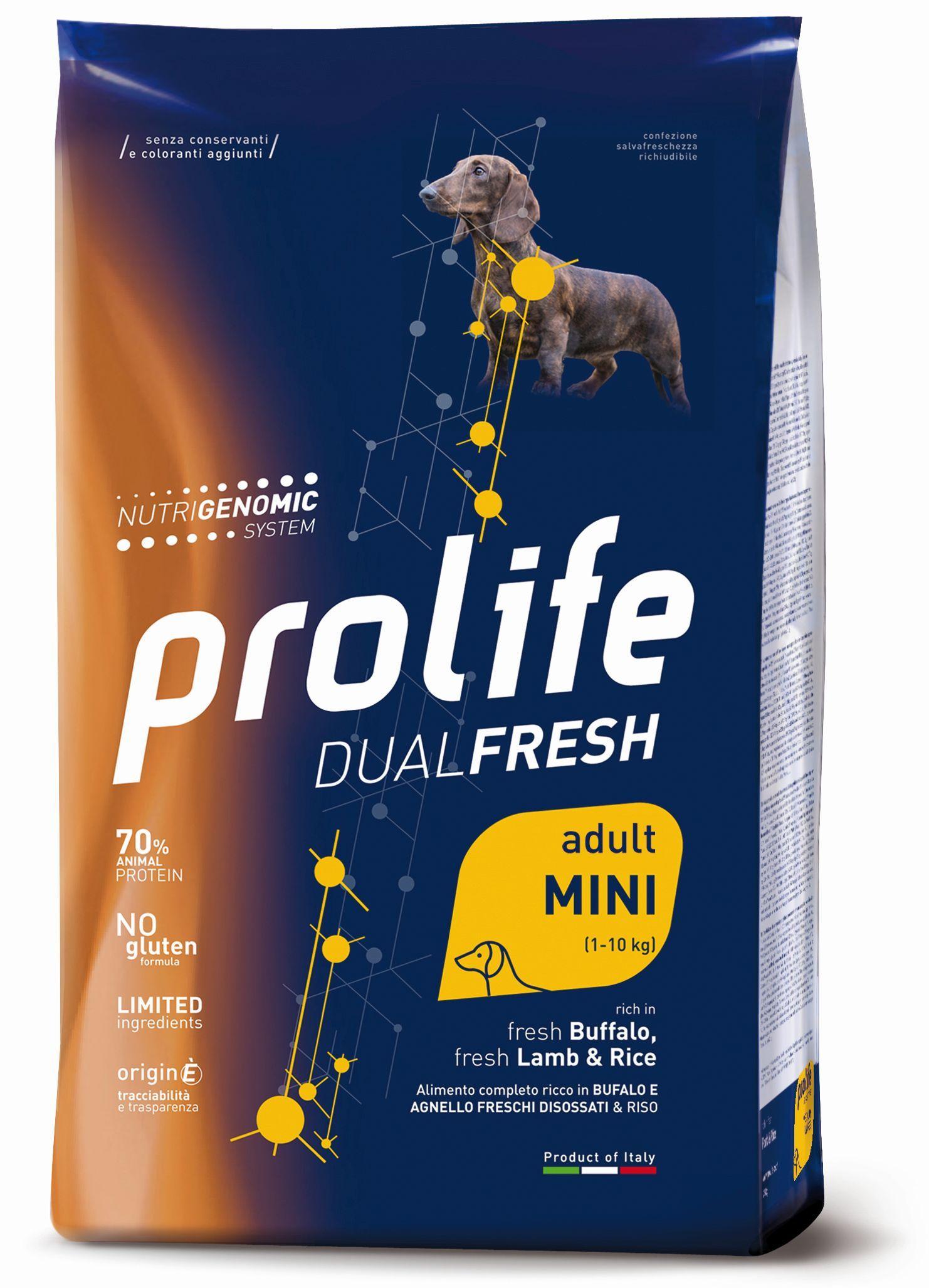 PROLIFE DUALFRESH ADULT MINI  CANE BUFALO, AGNELLO E RISO 2 KG.