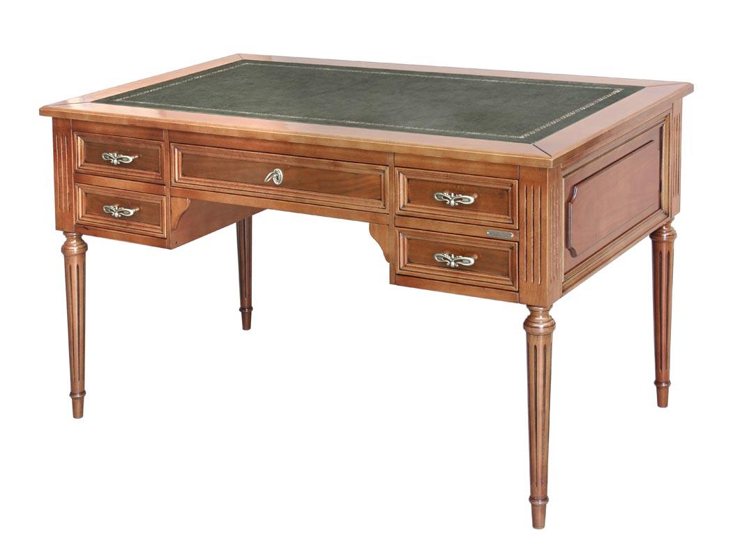 Bureau Louis XVI 5 tiroirs et cuir
