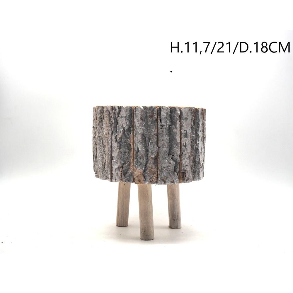 Caspo' In Legno Effetto Corteccia Con 3 Piedi h21x18 cm