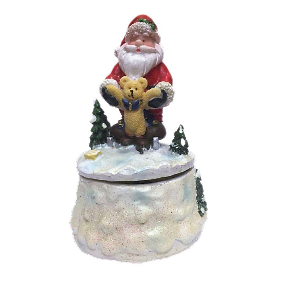 Carillon Babbo Natale e orsetto in resina colorata