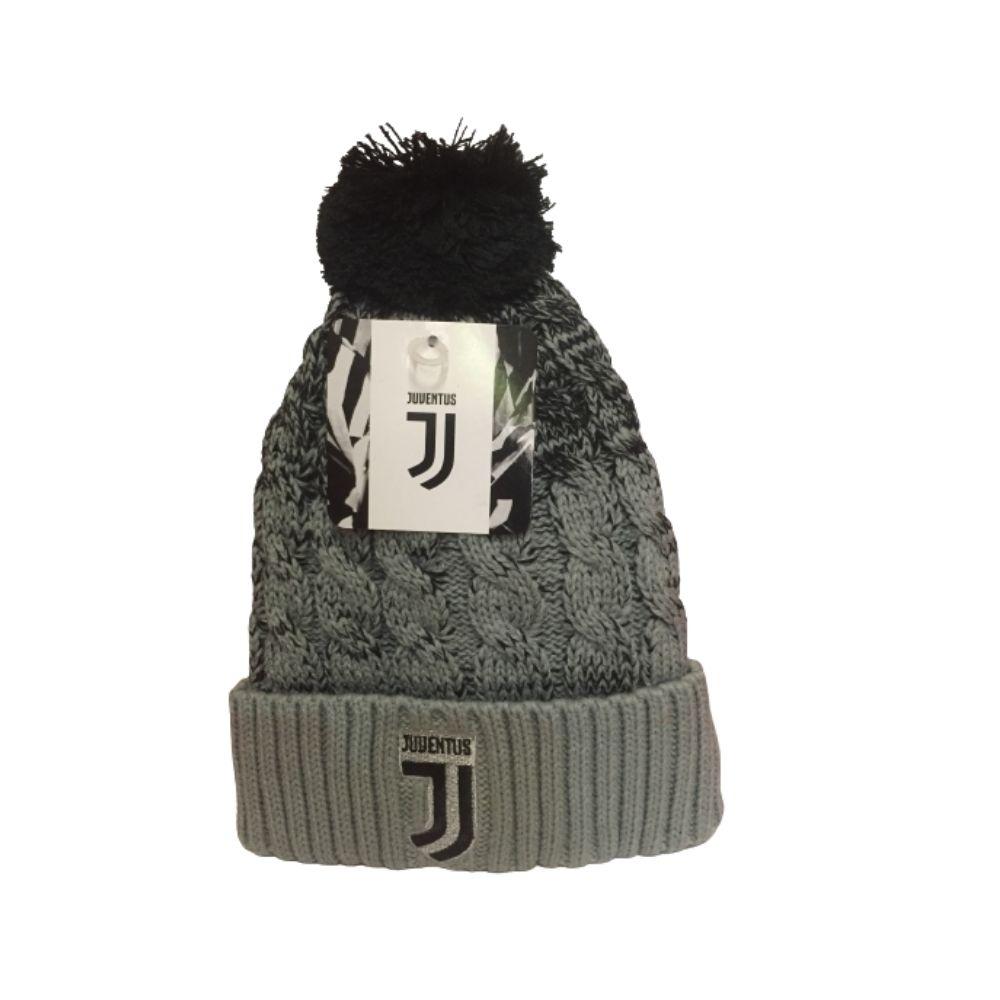 Cappello Juventus invernale pon pon grigio