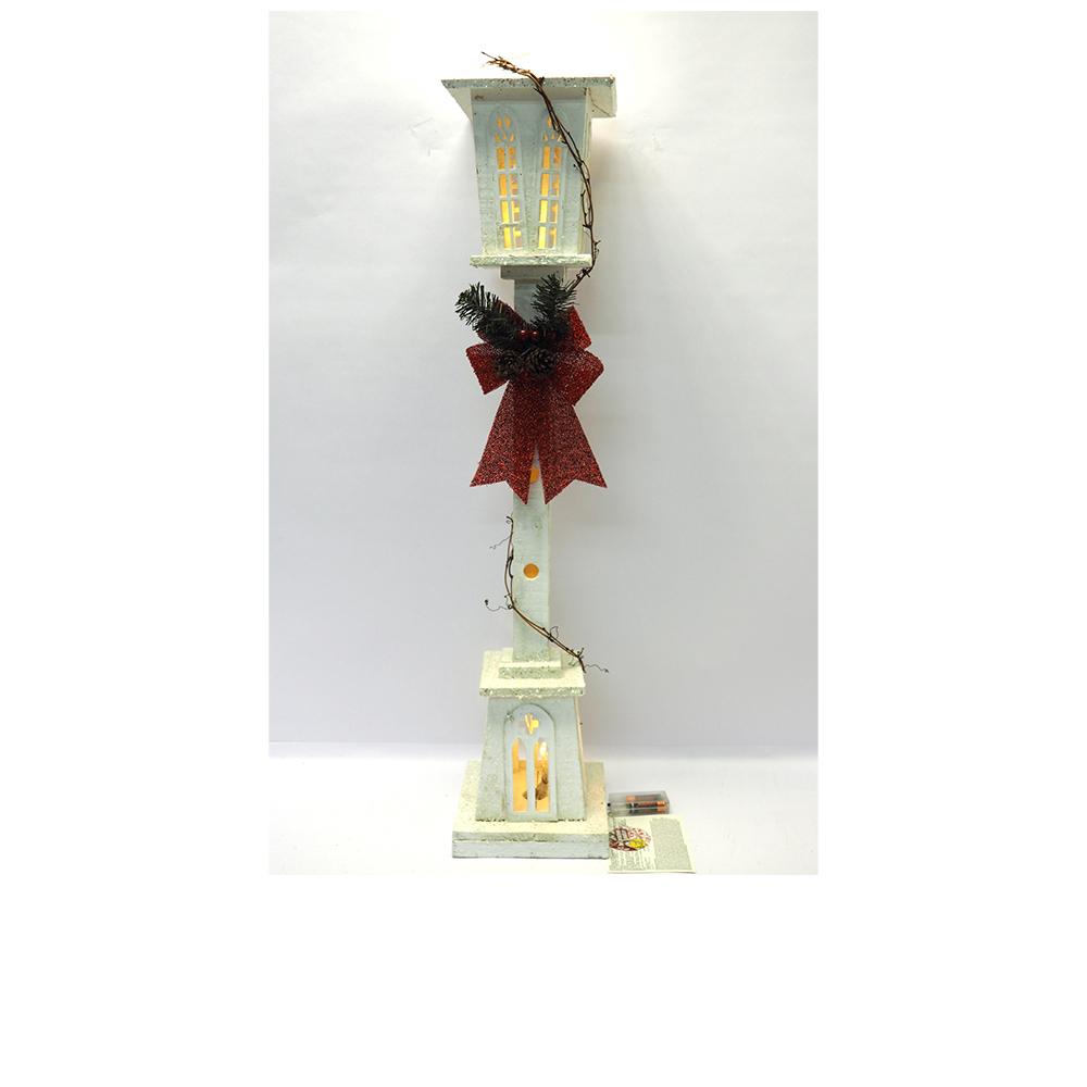 Lampione Natalizio In Legno Bianco con Fiocco e 20 Led H98x20x20 cm