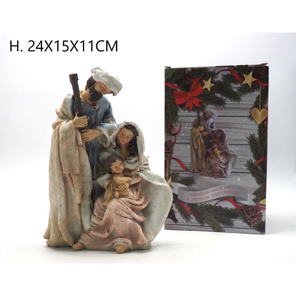 Natività in resina Con vesti in Tessuto Pezzo Unico H24x15x11cm