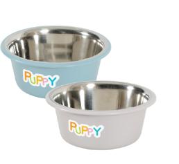 Ciotole Puppy antiscivolo in acciaio inox Zolux Blu o Taupe