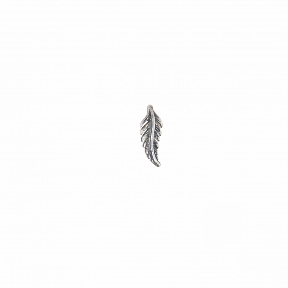 Orecchino singolo a piuma silver