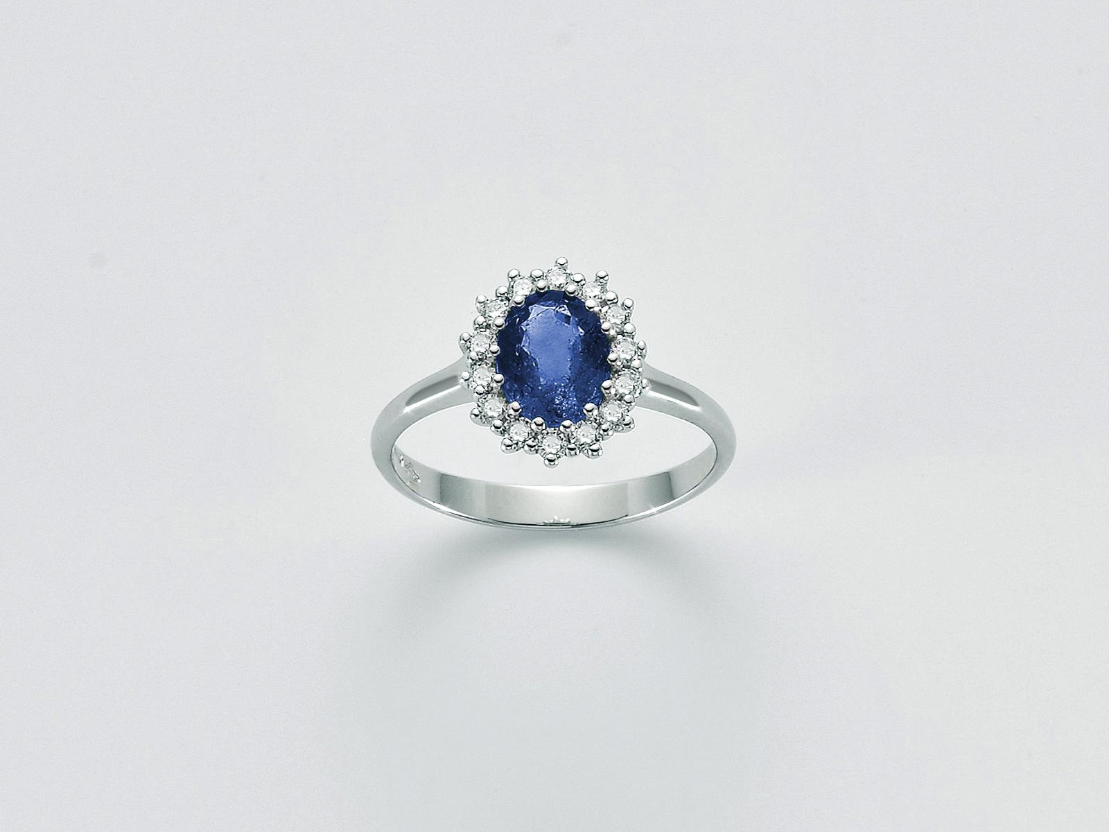 Anello donna Miluna LID3284 zaffiro blu