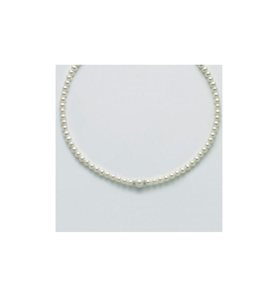 Collana Miluna Donna - in Oro Bianco con Perle e Diamanti