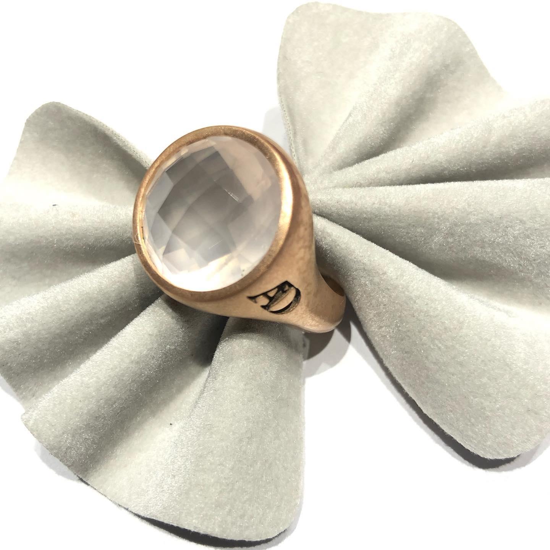 Anello in argento 925/1000 e quarzo rosa