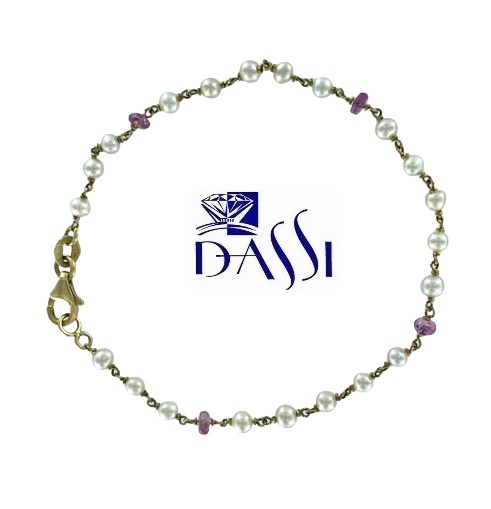 Bracciale a rosario in oro giallo 18kt con tormalina rosa e perle