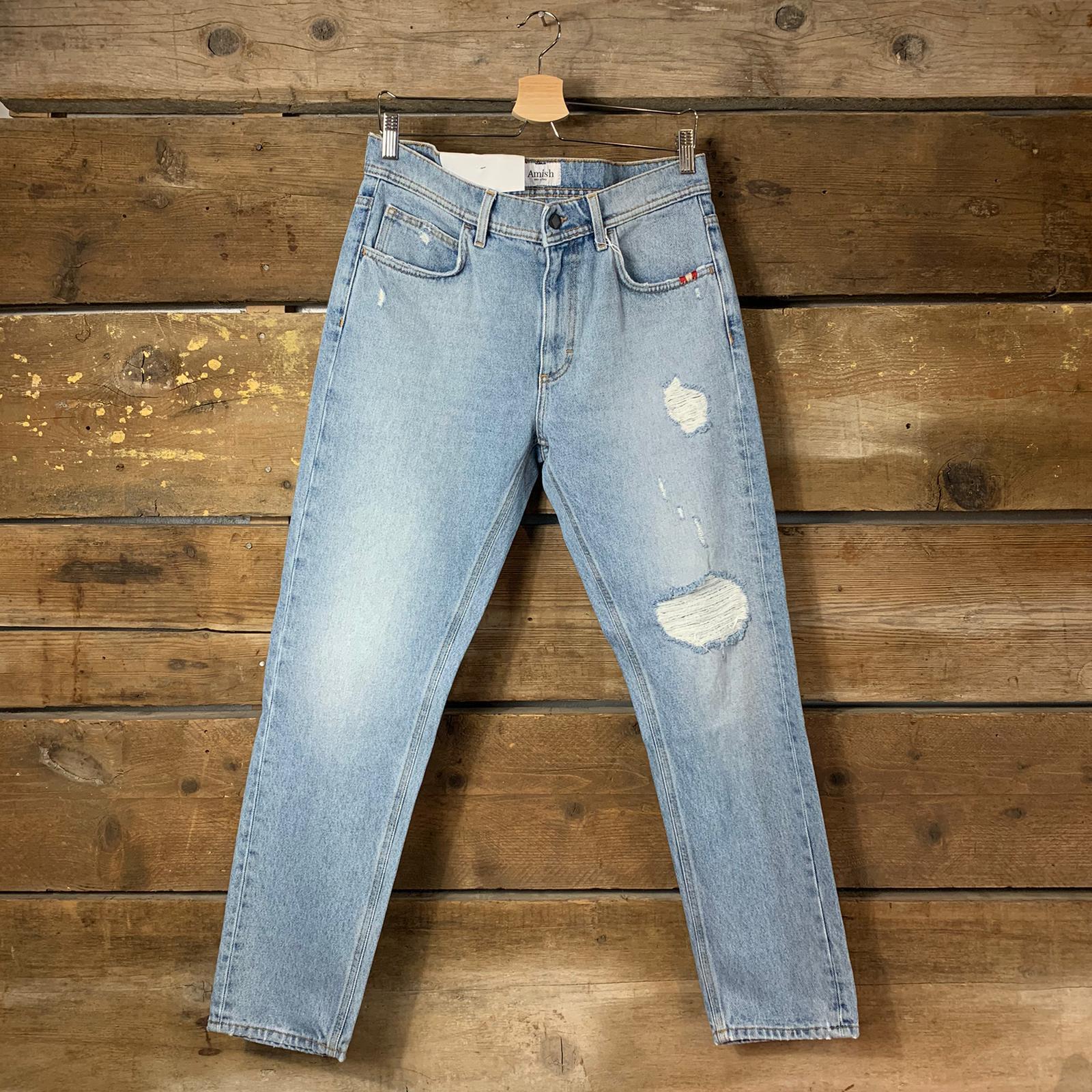Jeans Amish David Columbus con Spaccature Denim Chiaro