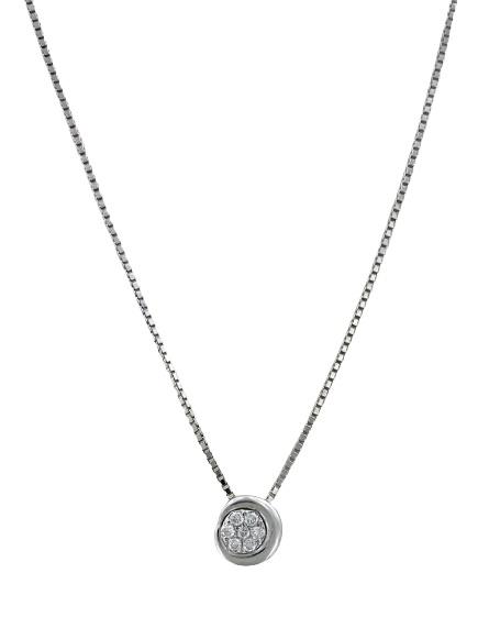 Girocollo Yukiko punto luce a grif in oro bianco 18 kt con diamante kt.0,0875
