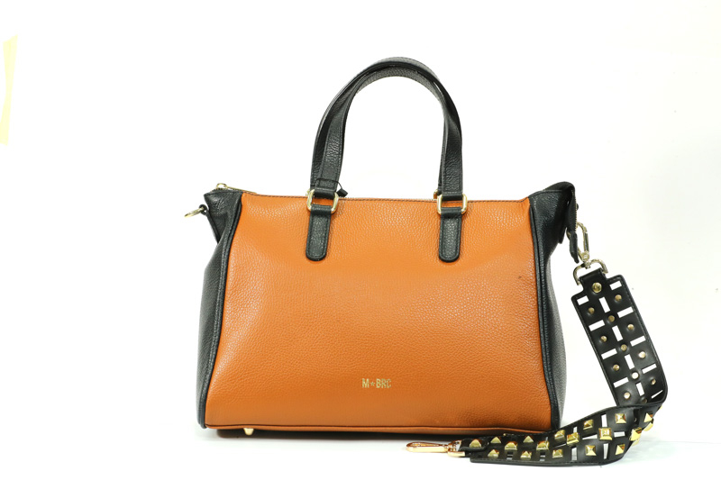 Braccialini-Borsa Donna Mano+Tracolla Bi-Bag Cognac R141