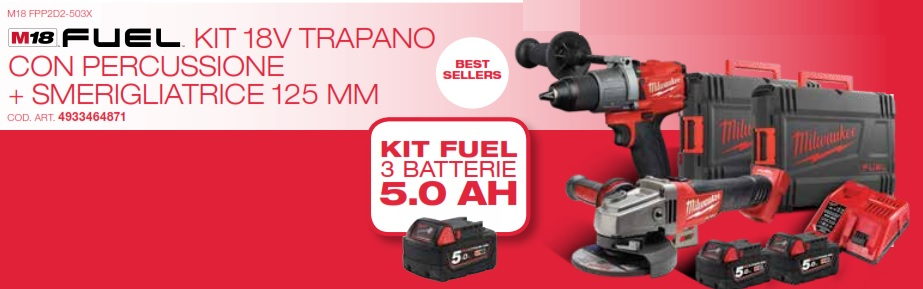 KIT 18V FUEL TRAPANO + SMERIGLIA + BATTERIE