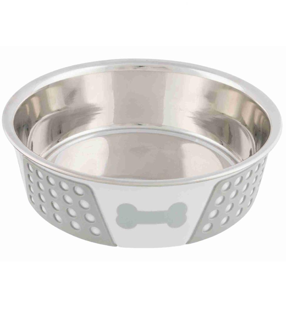 Trixie - Ciotola Acciaio Inox - Riivestimento Plastica e Silicone - 0,75 L