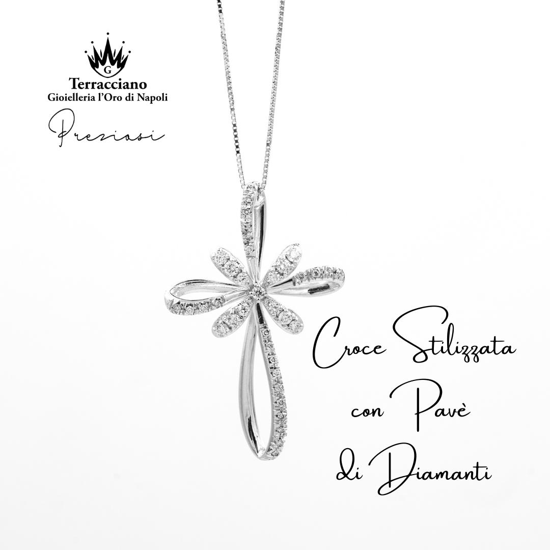 Croce Stilizzata con Pavè di Diamanti