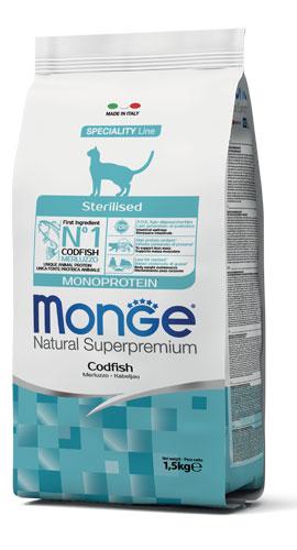 MONGE NATURAL SUPERPREMIUM GATTO STERILISED MERLUZZO 1,5KG