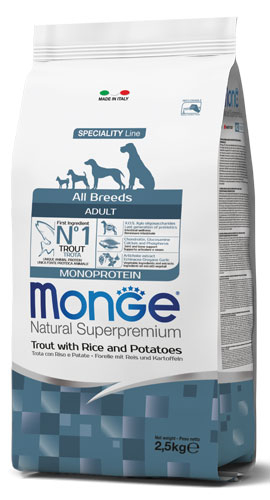 MONGE ALL BREED ADULT MONOPROTEIN TROTA, RISO E PATATE