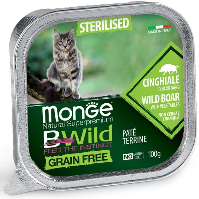 MONGE B-WILD GRAIN FREE - PATE' STERILISED - CINGHIALE CON ORTAGGI 100 GR