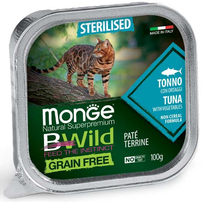 MONGE B-WILD GRAIN FREE - PATE' STERILISED - TONNO CON ORTAGGI 100 GR