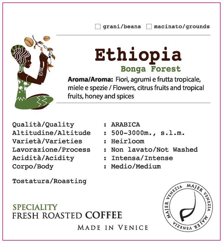Caffè Majer in grani Etiopia Bonga Forest  - 1000gr