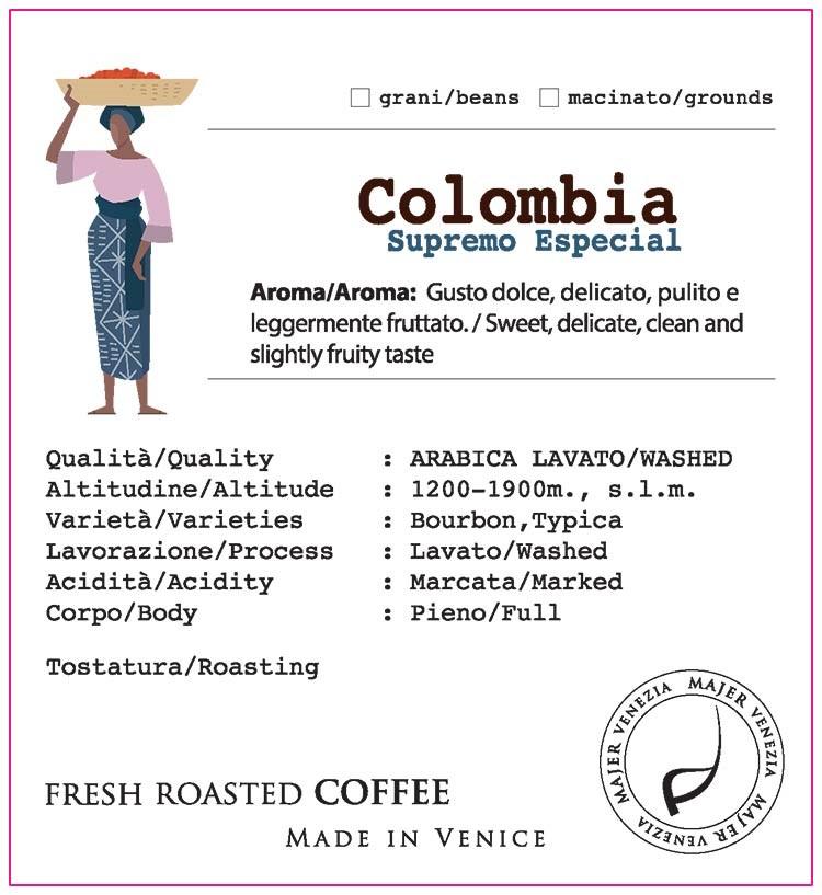 Caffè Majer in grani Colombia Supremo Especial  -  250gr