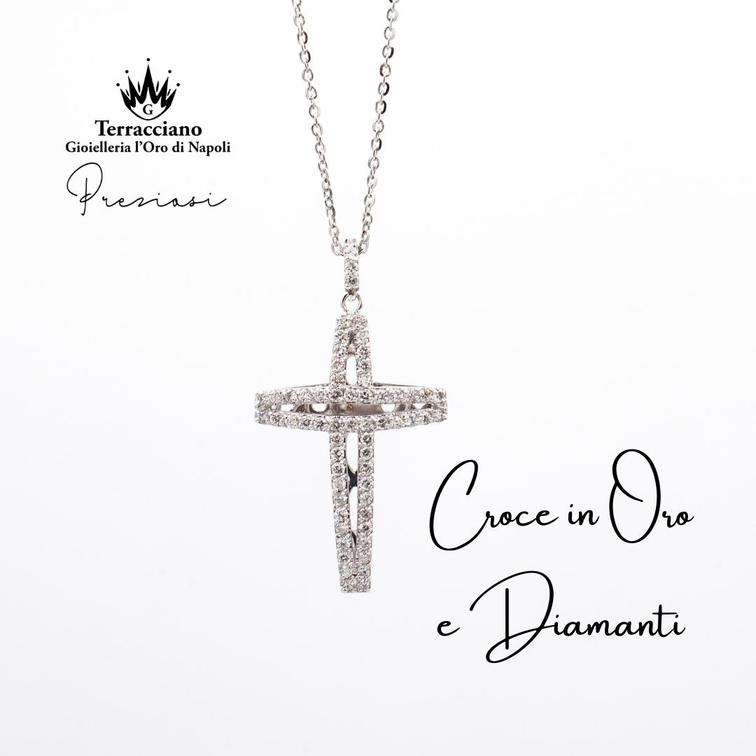 Croce in oro bianco e Diamanti