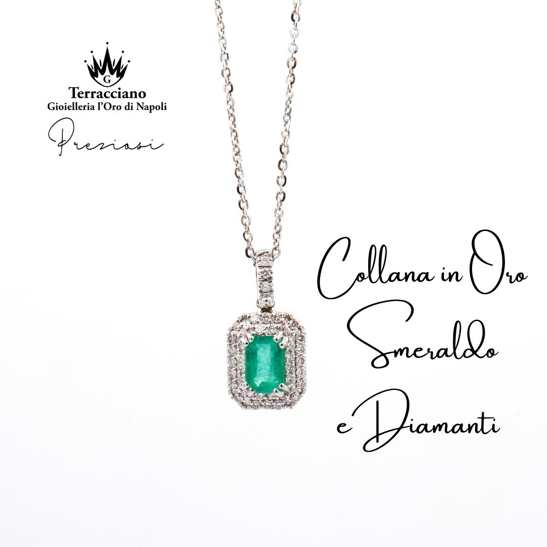 Collana con Ciondolo Smeraldo e Diamanti