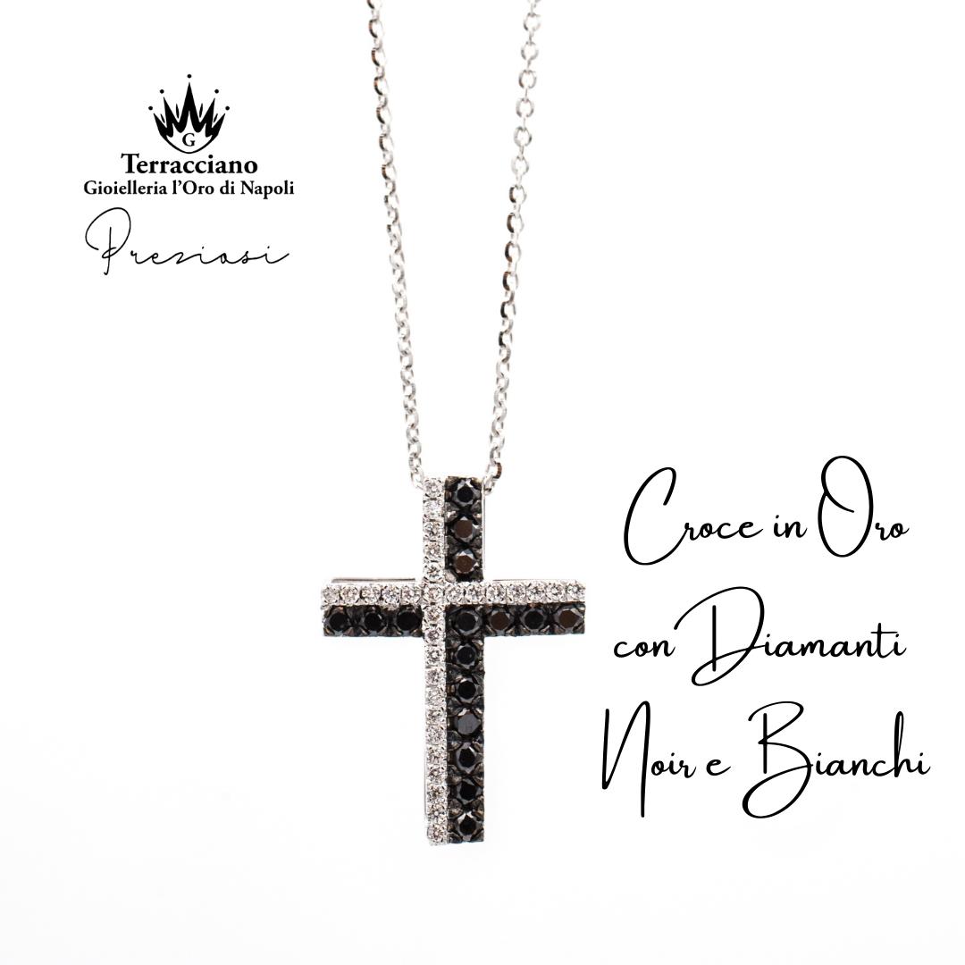 Croce in Oro Bianco con Diamanti Neri e Bianchi