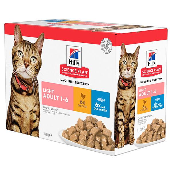 Hill's - Science Plan Feline - Adult Light - Multipack - BOX 12 buste 85g