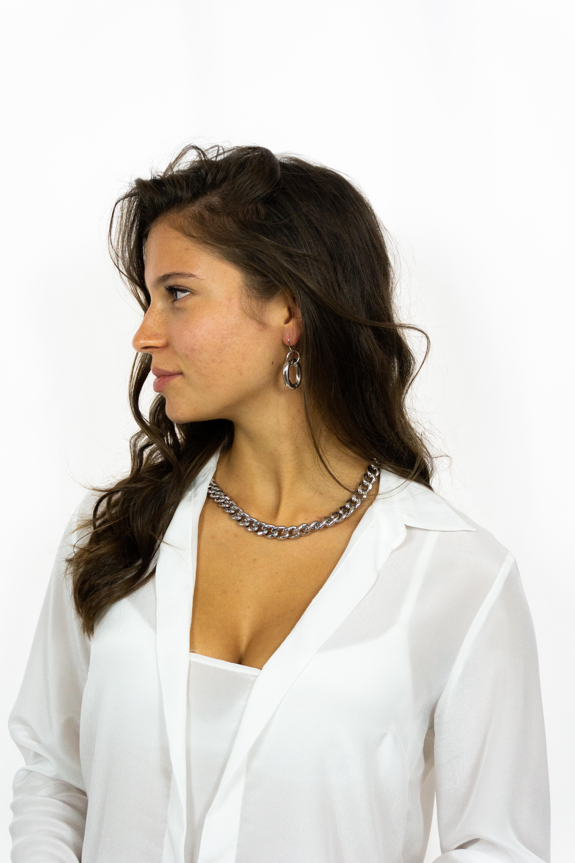 Catena maglia stretta oro bianco Francesca Bianchi Design