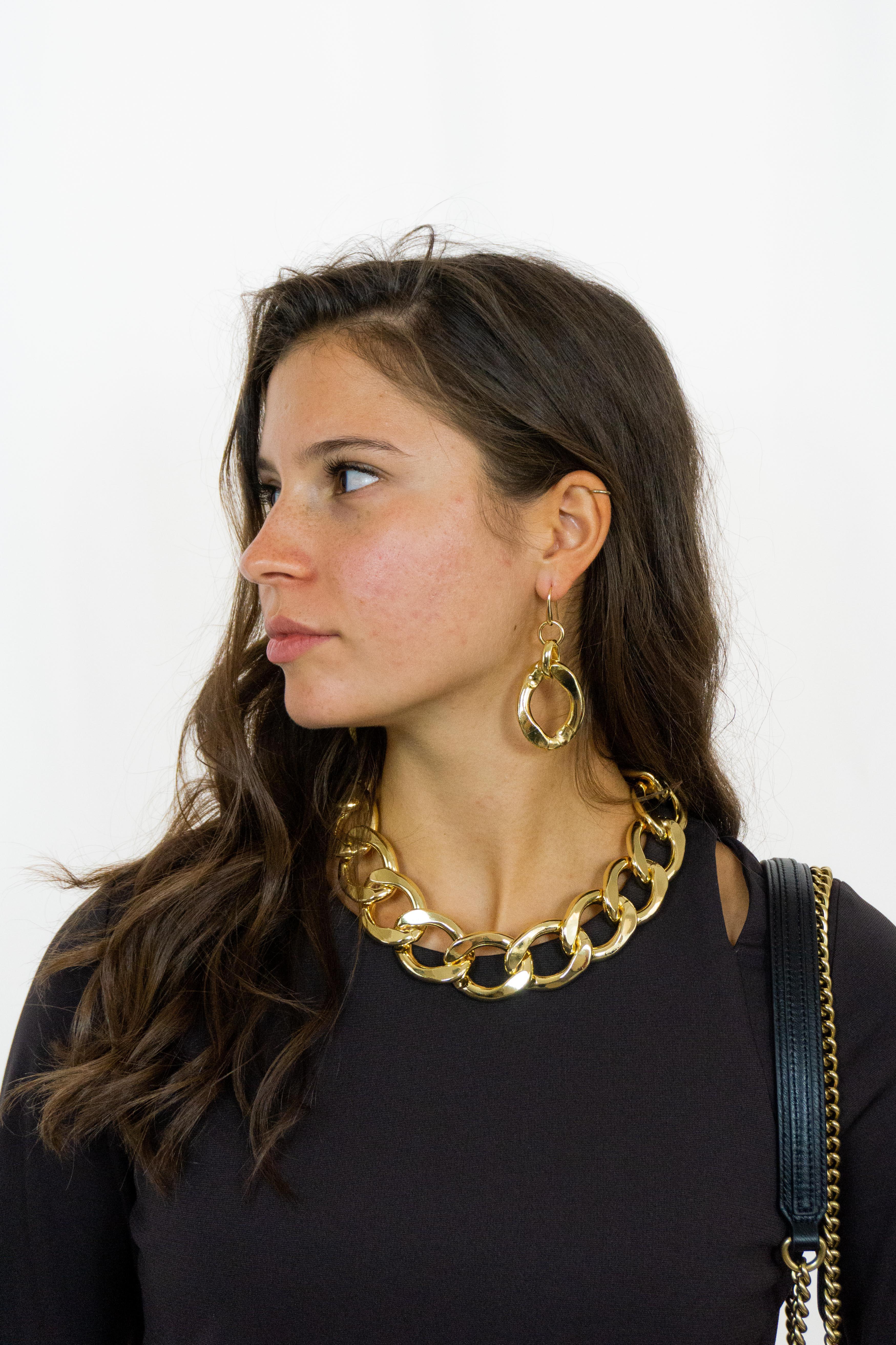 Orecchini con catena grande oro Francesca Bianchi Design