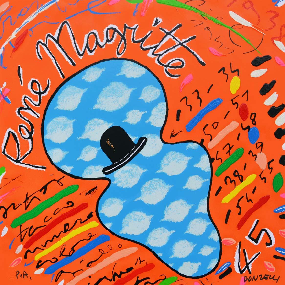 Donzelli Bruno Renè Magritte Serigrafia polimaterica Formato cm 35x35