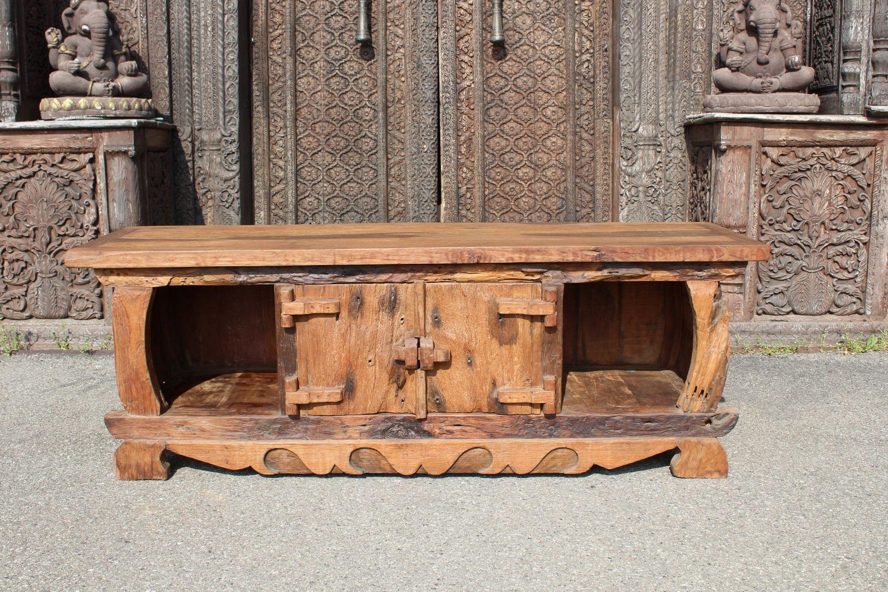 Porta tv in legno di teak con scomparto centrale