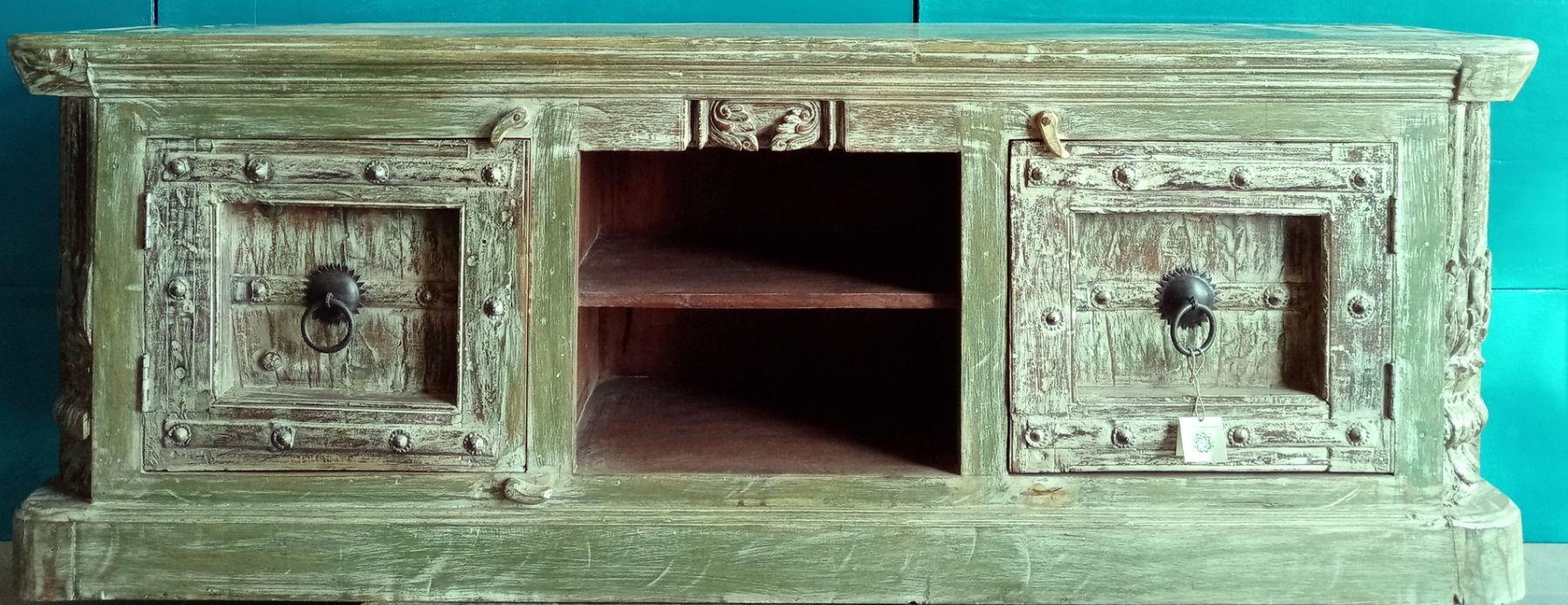 Porta Tv in legno di teak con ante forziere indiano