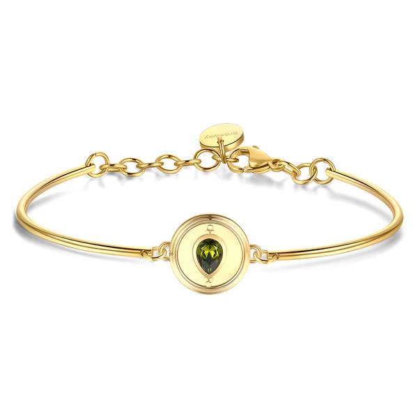 Brosway - Bracciale CHAKRA in acciaio, pvd oro e cristallo Swarovski olivine